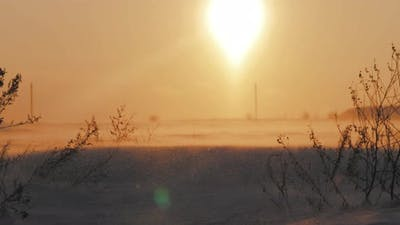 Arctic Snow Storm at Sunset
