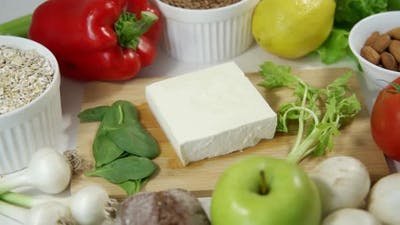 Healthy Organic Vegan Breakfast Featuring Scrambled Tofu Vegan Pancakes Fresh Vegetables and Salad