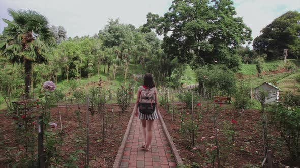 Thumbnail for Girl with Bag Walks Through Garden in Tropical Park, Palms, Coniferous Trees, Flower Plantation