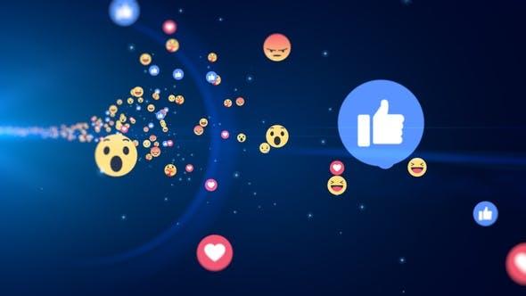 Generic Facebook Emotion Icons Flying
