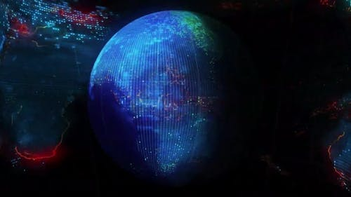 Digital Blue World Map Background 19