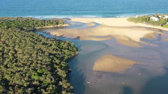 Aerial view of Currumundi Lake, Sunshine Coast, Queensland, Australia.