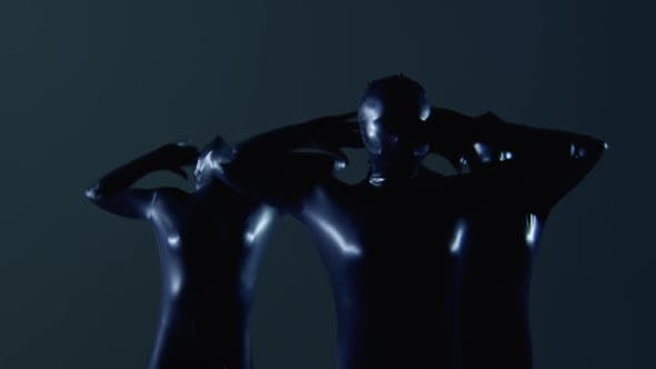 Thumbnail for Half Body Shot of Three Female Dancers Performing a Dance in Slowmo