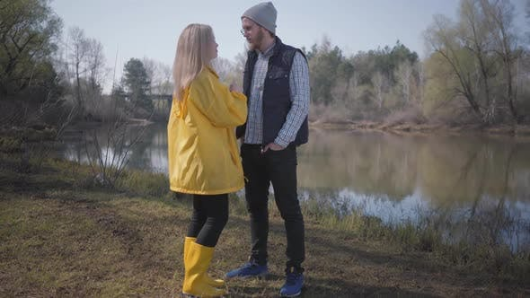 Thumbnail for Young Cute Couple Walking in Nature Outside the City Near the River