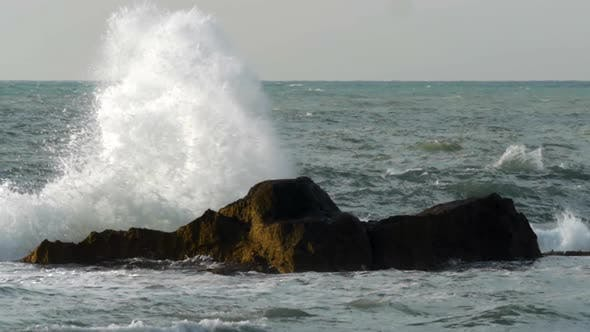Thumbnail for Rough Sea Crushing the Rocks with High Splashes