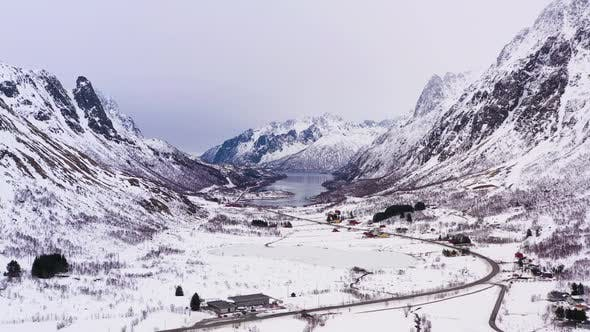 Thumbnail for Mountains in Winter. Lofoten Islands, Landscape of Norway. Aerial View