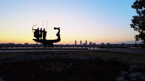 Thumbnail for Kyiv, Ukraine - a Monument To the Founders of the City in the Morning at Dawn, Aerial
