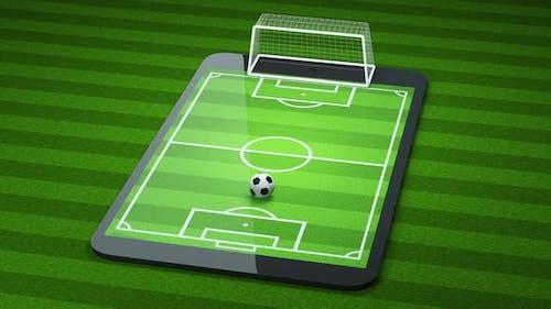 Animation of shooting football on the pad, virtual reality