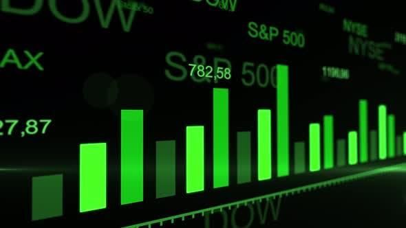 Stock market trading graphs. Futuristic raising green arrow