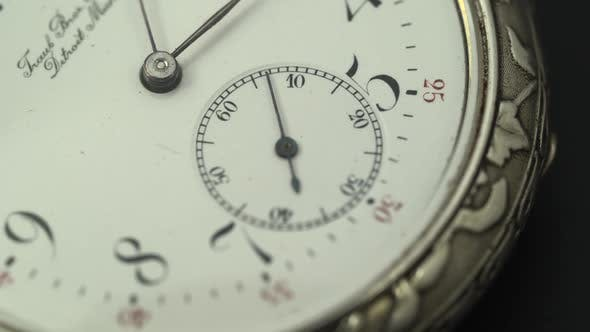 Thumbnail for Running Second Hand on an Old Pocket Watch with a White Dial. Close Up