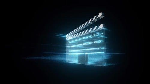 Digital Movie Clap Claqueta Hud Hologram Representation Of Digital Filmmaking Hd