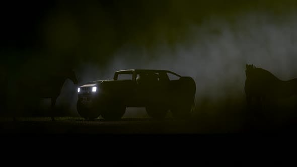 Thumbnail for Horse and Terrain Vehicle on Foggy Background
