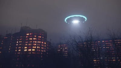 3d UFO at night over the city