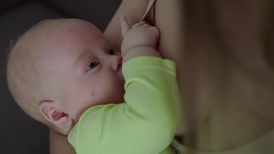 Close Portrait of Cute Sleepy Newborn Baby Suckling Milk