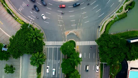 Thumbnail for Overhead aerial view of the circular shaped highway