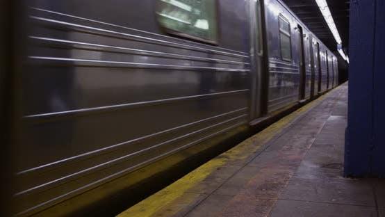 Thumbnail for Subway Train Leaving at Platform in Manhattan New York 07B