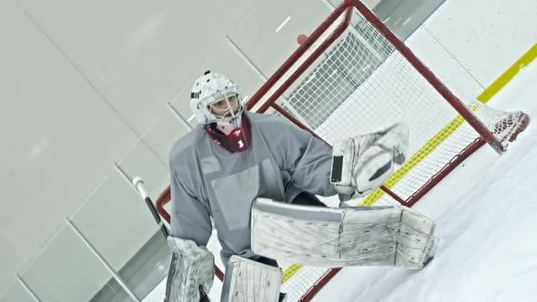 Thumbnail for Hockey Goalie Practicing Catching Puck