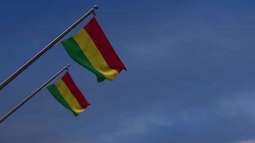 Bolivia Flags InThe Blue Sky-- 2K