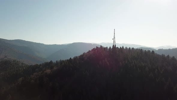 Mobile communication tower in the mountains.