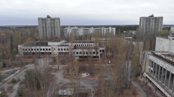 Chernobyl Exclusion Zone. Pripyat. Aerial