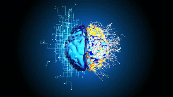 4K Abstract background of Artificial Intelligence with left and right Brain