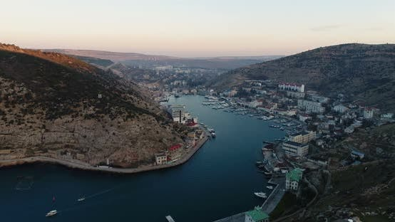 Thumbnail for Bay of the Sea, Mountains, Rocks, Embankment and City Buildings