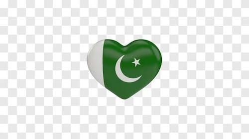 Pakistan Flag on a Rotating 3D Heart