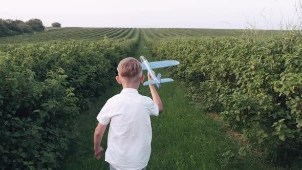 Thumbnail for Schoolboy Playing with a Plane Toy in the Summer Field