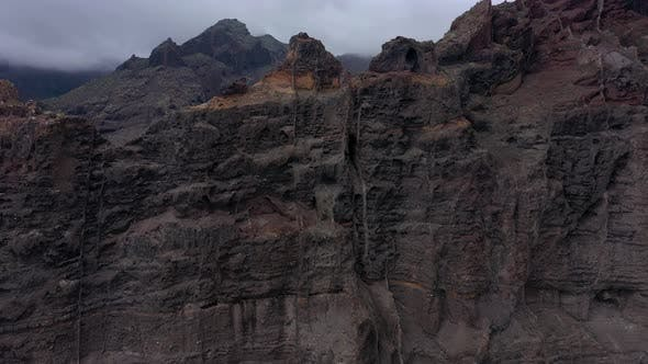 Aerial View of Los Gigantes Cliffs on Tenerife Overcast Canary Islands Spain