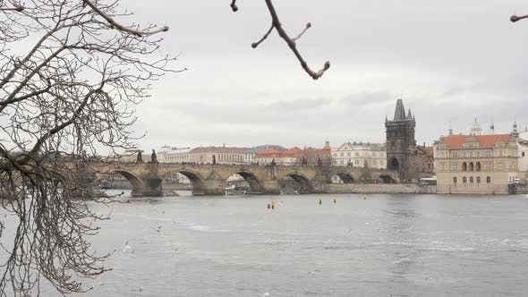 Thumbnail for Famous Czechia capital  Vltava river and Charles bridge 4K 2160p 30fps UltraHD footage - Cityscape o