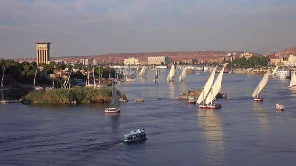 Thumbnail for Felucca Boats on Nile River in Aswan at Sunset