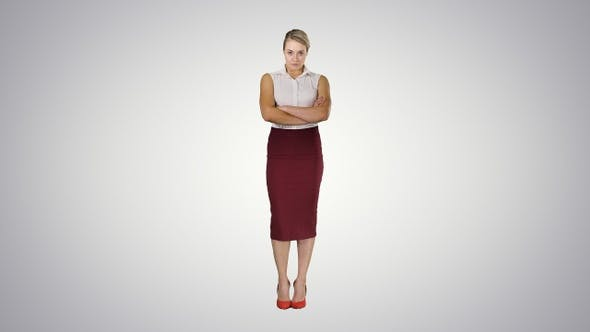 Thumbnail for Young woman wearing formal clothers looking on camera keeping