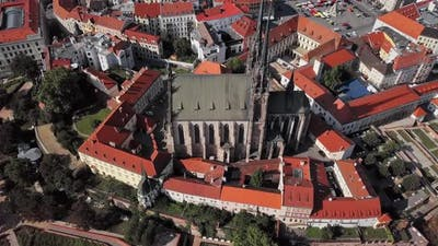 Aerial Panorama of Brno Old Town