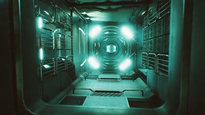 Dark Space Ship Futuristic Interior