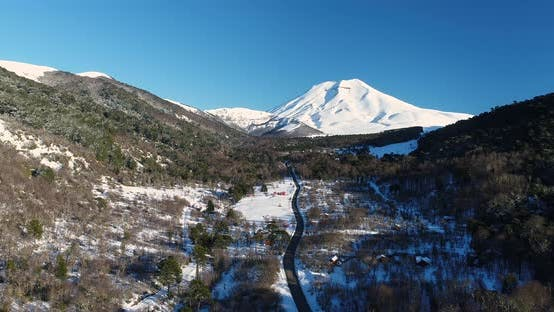 Thumbnail for Lonquimay Volcano And Corralco Chilean Ski Resort Aerial