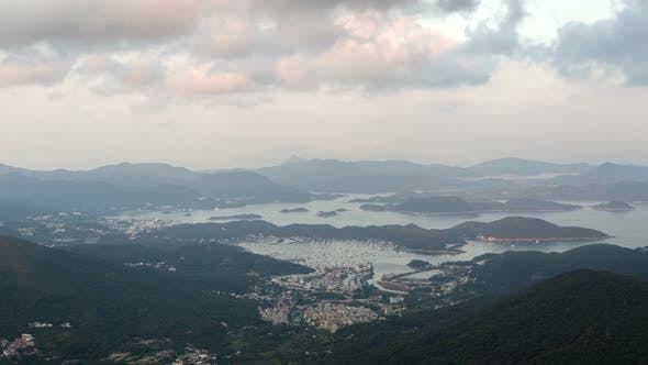 Thumbnail for Timelapse Hong Kong City Silhouette Surrounded By Hills