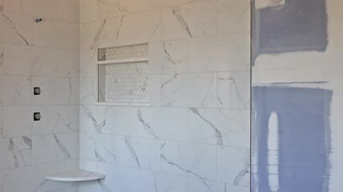 Construction Details with Industry Renovation Shower in Tiled Bathroom with Molding Door