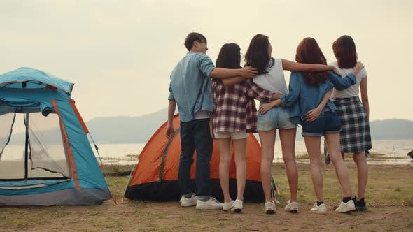 Group of Asia best friends teenagers have fun look at nice sunset view enjoy happy moments.