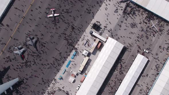Thumbnail for Aviation Festival Field With Crowd And Old Military Aircrafts And Fighter Jets Top View