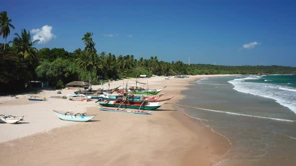 View of the Beach Fishing Boats on One of the Beaches of Sri Lanka, the Southern Part of the Island