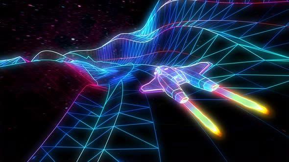 Thumbnail for Retro Neon Spaceship Flying Through The Mountains