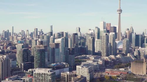 Toronto, Canada, Aerial  - Toronto's lakeshore as seen from a helicopter during the day