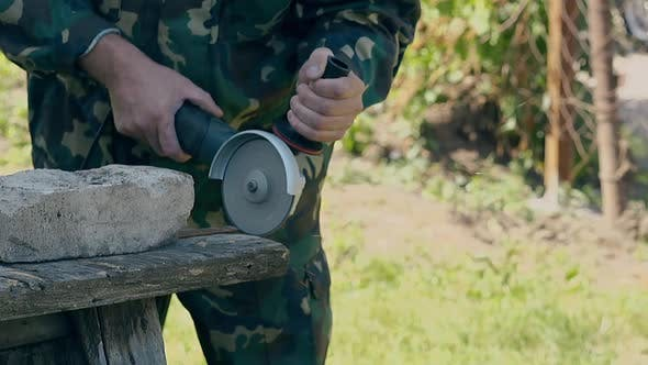 Thumbnail for Slow Motion Closeup Man Cuts Metal Plank with Circular Saw