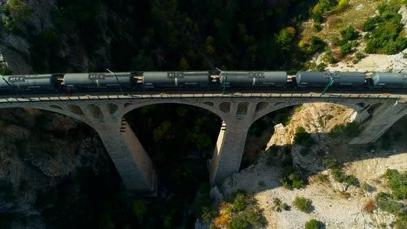 Thumbnail for Passing Train Wagon Stone Railway Bridge