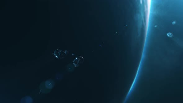 Thumbnail for Asteroids Flying to Camera