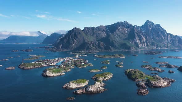 Cover Image for Flight over the sea and view on the fishing village Henningsvaer ,Lofoten Islands,Norway