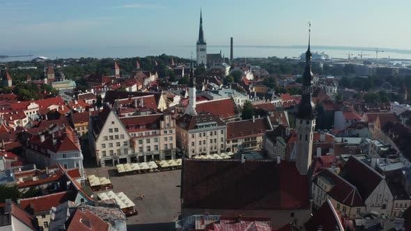 Aerial View of Medieval Tallinn City in Estonia Baltics