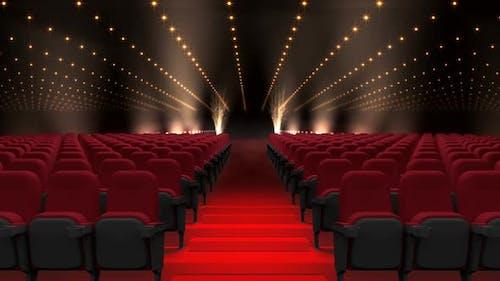 Cinema seats auditorium with flashing lights
