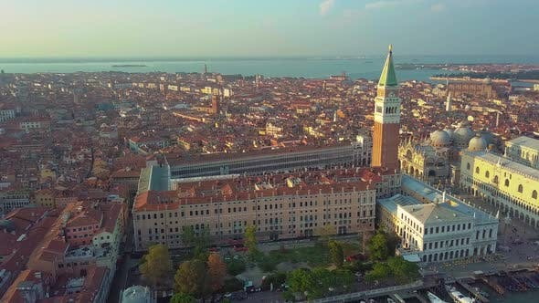 Thumbnail for Aerial View of Venice Panoramic Landmark, Aerial View of Piazza San Marco or St Mark Square
