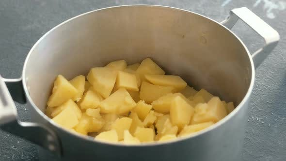 Thumbnail for Boiled Potato in Saucepan. Cooking Mashed Potatoes.